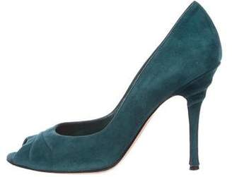 Gianvito Rossi Suede Peep-Toe Pumps