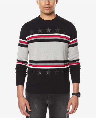 Sean John Men's Stripe Sweater with Faux-Leather Stars, Created for Macy's