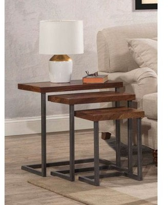 Hillsdale Furniture Emerson Nesting Tables - Set of 3, Natural Sheesham Wood / Gray Metallic