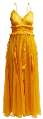 Lee Mathews - Lilla Ruffle Trimmed Silk Dress - Womens - Yellow