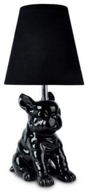 French Bull Minisun Dog Ceramic Table Lamp, Black & Black