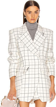 Tibi Windowpane Peaked Lapel Blazer in Ivory Multi | FWRD