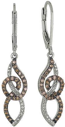 FINE JEWELRY 1/2 CT. T.W. Champagne & White Diamond Sterling Silver Dangle Earrings