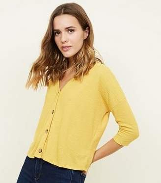 New Look Mustard Fine Knit Button Through 3/4 Sleeve Top