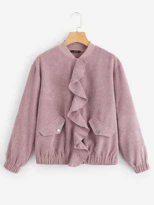 Shein Ruffle Trim Zip Up Corduroy Jacket