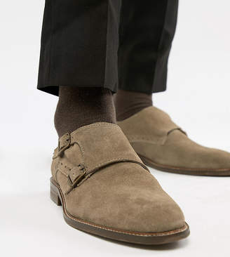 Dune Wide Fit Monk Shoes In Taupe Suede