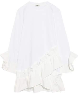 Goen J - Ruffled Poplin-trimmed Modal And Cotton-blend Mini Dress - White