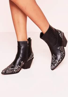 Missy Empire Missyempire Chloe Black Snake Print Cowboy Boots
