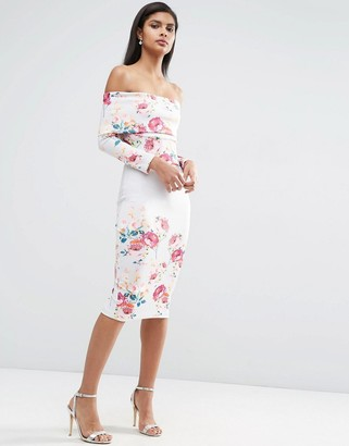ASOS Deep Bardot Placed Floral Print Dress $105 thestylecure.com