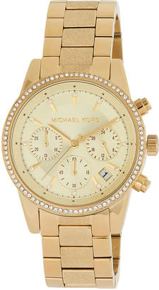 MICHAEL Michael Kors Ritz 37mm Chronograph Watch w\/ Crystals Golden