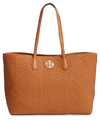Tory Burch Duet Woven Leather Tote - Brown $595 thestylecure.com