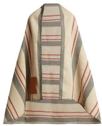 Loewe Striped Wool Blanket - Womens - Tan