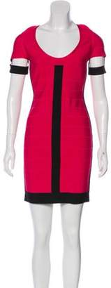 Herve Leger Short Sleeve Mini Dress Fuchsia Short Sleeve Mini Dress