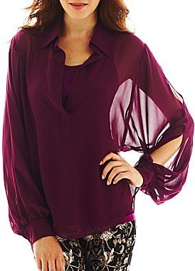 JCPenney Bisou Bisou® Long-Sleeve Woven Shirt