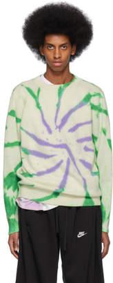 The Elder Statesman Off-White Cashmere Tie-Dye Sweater