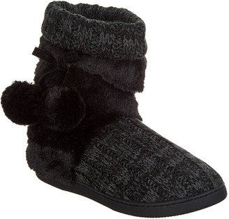 d7abcaff907 Muk Luks Michelle Knit Slipper Boot with Faux Fur Lining