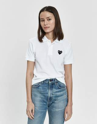 Comme des Garcons Play Black Heart Polo Shirt in White