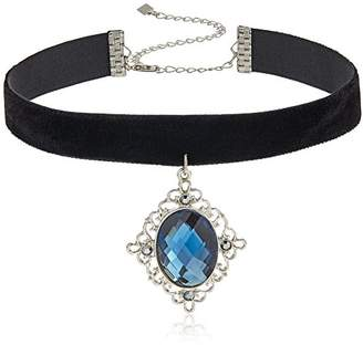 1928 Jewelry Black Velvet with Large Black-Tone Hematite and Blue Stone Pendant Choker Necklace