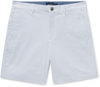 Club Monaco Baxter Slim-Fit Pinstriped Cotton-Blend Seersucker Shorts - Men - Gray