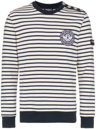 Balmain cotton striped button embellished jumper