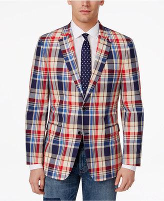 Tommy Hilfiger Men's Slim-Fit Red, Tan and Blue Cotton Sport Coat $295 thestylecure.com