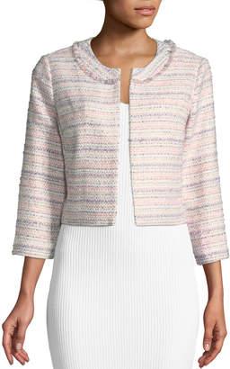Karl Lagerfeld Paris 3/4-Sleeve Tweed Topper Jacket, Rose