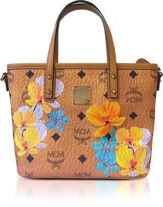 MCM Essential Visetos Floral Print Cognac Top Zip Mini Tote Bag