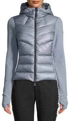 Moncler Combo Jacket w/ Fleece Knit & Chevron Quilted Front