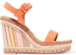 Valentino Leather Platform Espadrille Wedge Sandals
