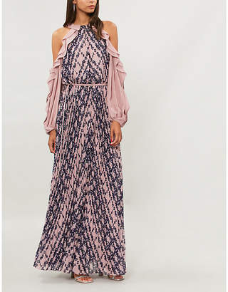 Self-Portrait Frilled-sleeve crepe de chine maxi dress