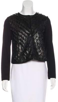 Milly Leather-Paneled Cropped Jacket