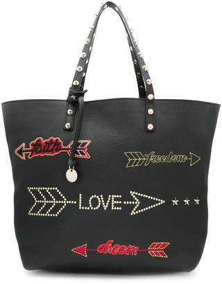 RED Valentino RED(V) arrow embroidered tote bag
