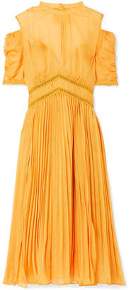 Self-Portrait Cold-shoulder Pleated Chiffon Midi Dress - Mustard