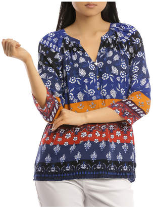 Regatta 3/4 Sleeve Button Detail Placement Print Top