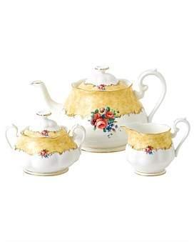 Royal Albert 100 Years 1990 Teapot, Cream & Sugar