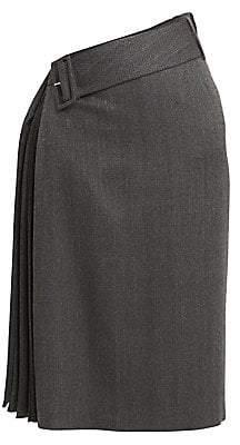 Rokh Women's Belted Pleat Midi Skirt