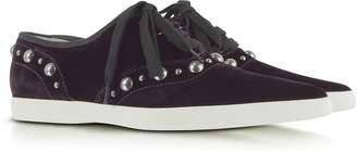 Marc Jacobs Purple Pointed Toe Lace Up Velvet Sneaker