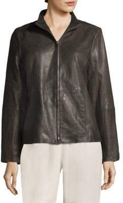 Eileen Fisher Stand Collar Leather Jacket