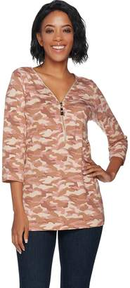 Belle By Kim Gravel Belle by Kim Gravel TripleLuxe Camo Printed 3/4 Sleeve Top