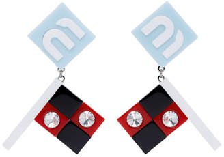 Miu Miu Blue Flag Crystal Earrings