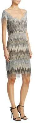 Pamella Roland Chevron Fringe Dress