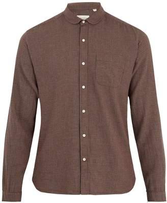 Oliver Spencer Eton round-collar micro-checked cotton shirt