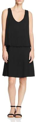 Three Dots Bodice Overlay Pom-Pom Dress