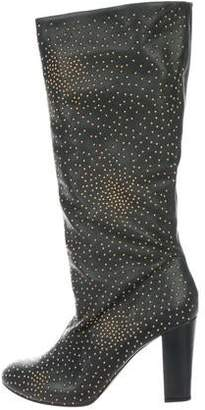 Chloé Leather Embellished Knee-High Boots