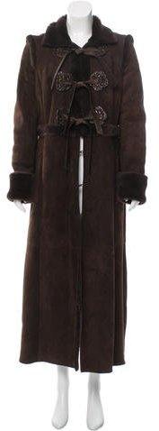 ValentinoValentino Shearling Floral-Adorned Coat
