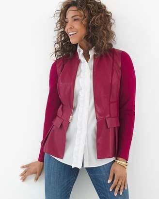Faux-Leather Peplum Jacket