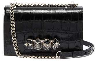 Alexander McQueen 'The Jewelled Satchel' in croc embossed leather with Swarovski crystal knuckle