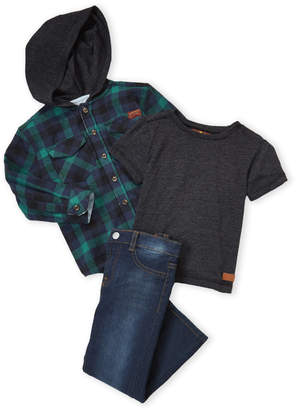 7 For All Mankind Toddler Boys) 3-Piece Plaid Hooded Jacket and Jeans Set