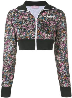 Palm Angels floral print cropped track jacket