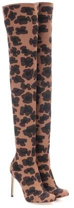 Francesco Russo Leopard-printed over-the-knee boots